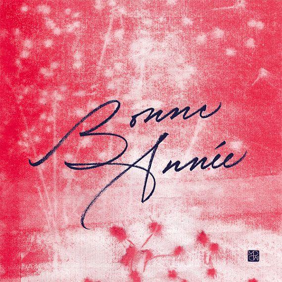 """Carte postale calligraphiée """"Bonne Année"""" par Marine PSM"""