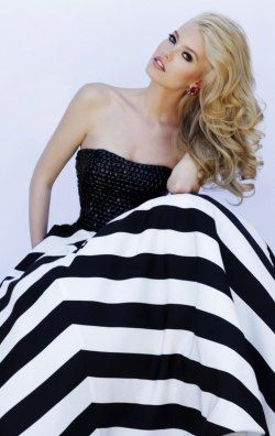 Strapless Striped Long Gown by Sherri Hill 32217
