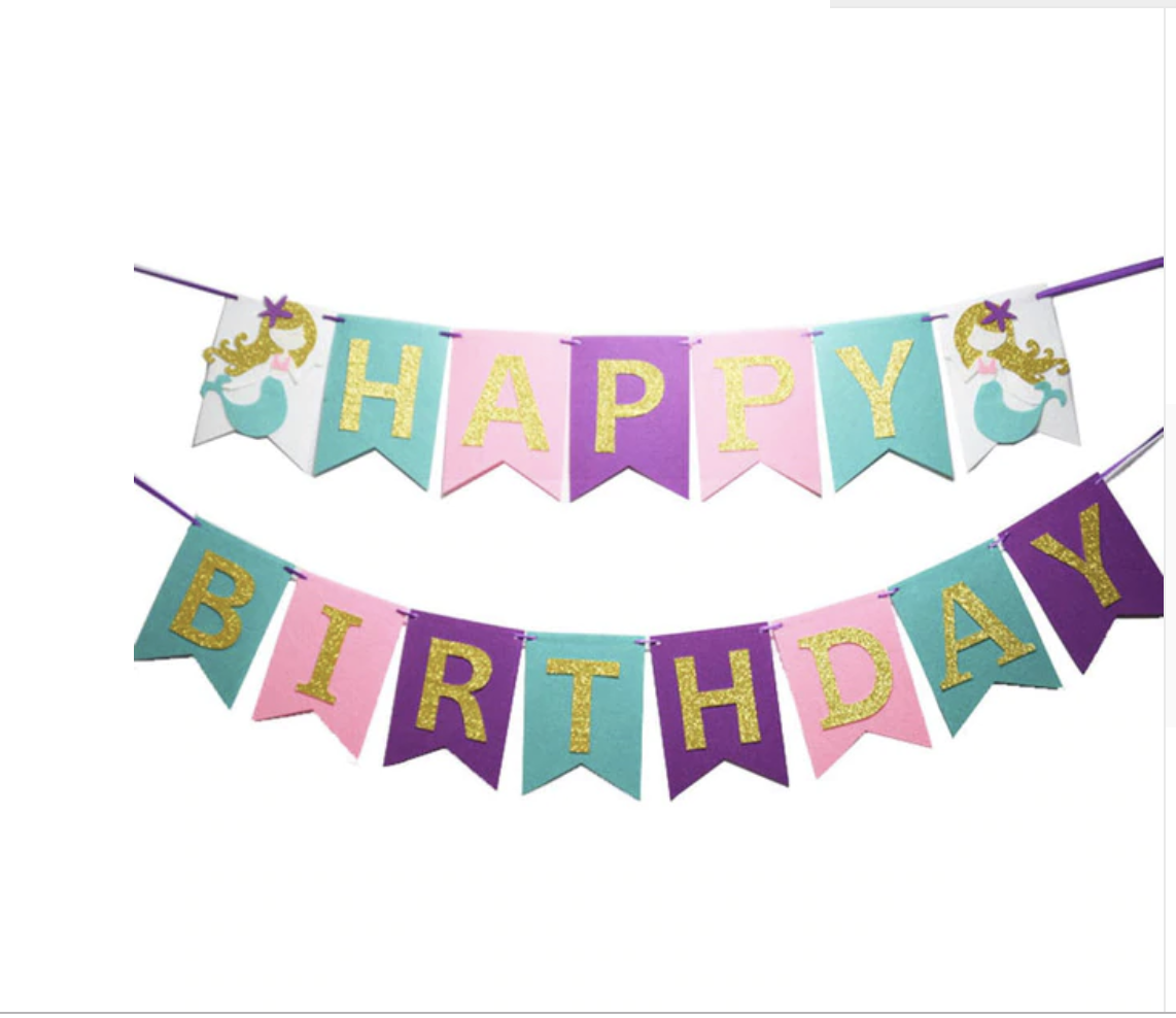 Turquoise Pink And Purple Mermaid Happy Birthday Banner With Gold Shimmering Letters Is The Per Mermaid Theme Birthday Happy Birthday Banners Birthday Banner