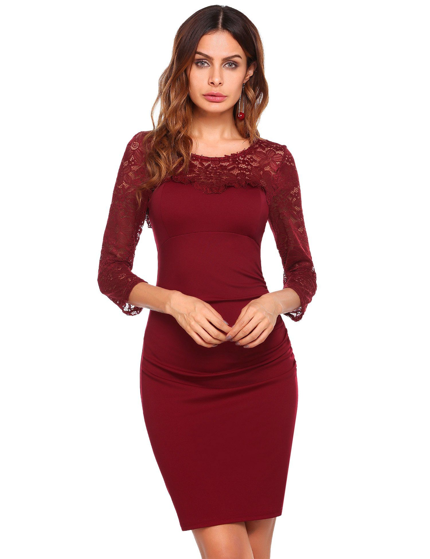 Beyove womens lace dress long sleeve bodycon cocktail party wedding
