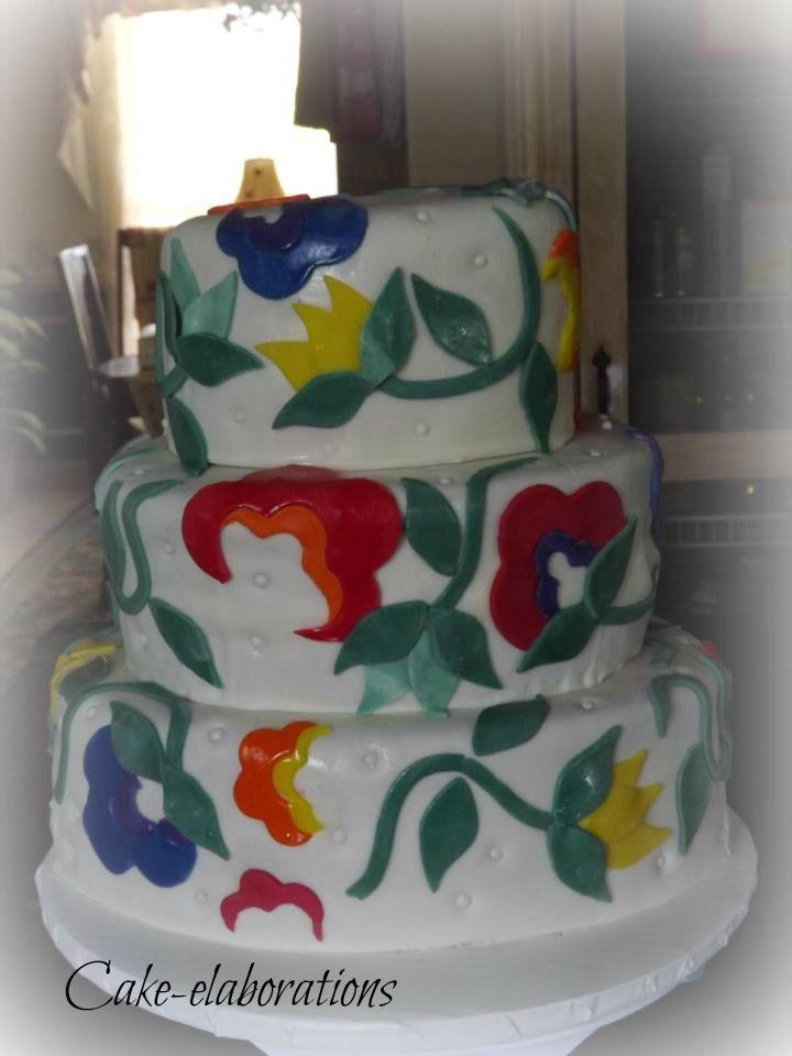 Red, Green, Yellow, Blue birthday cake