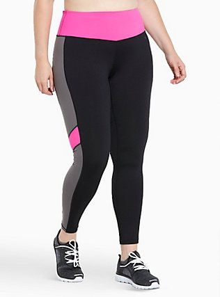 91e2dee2add028 Torrid Active - Colorblock Leggings, DEEP BLACK | Plus Size Fashion ...