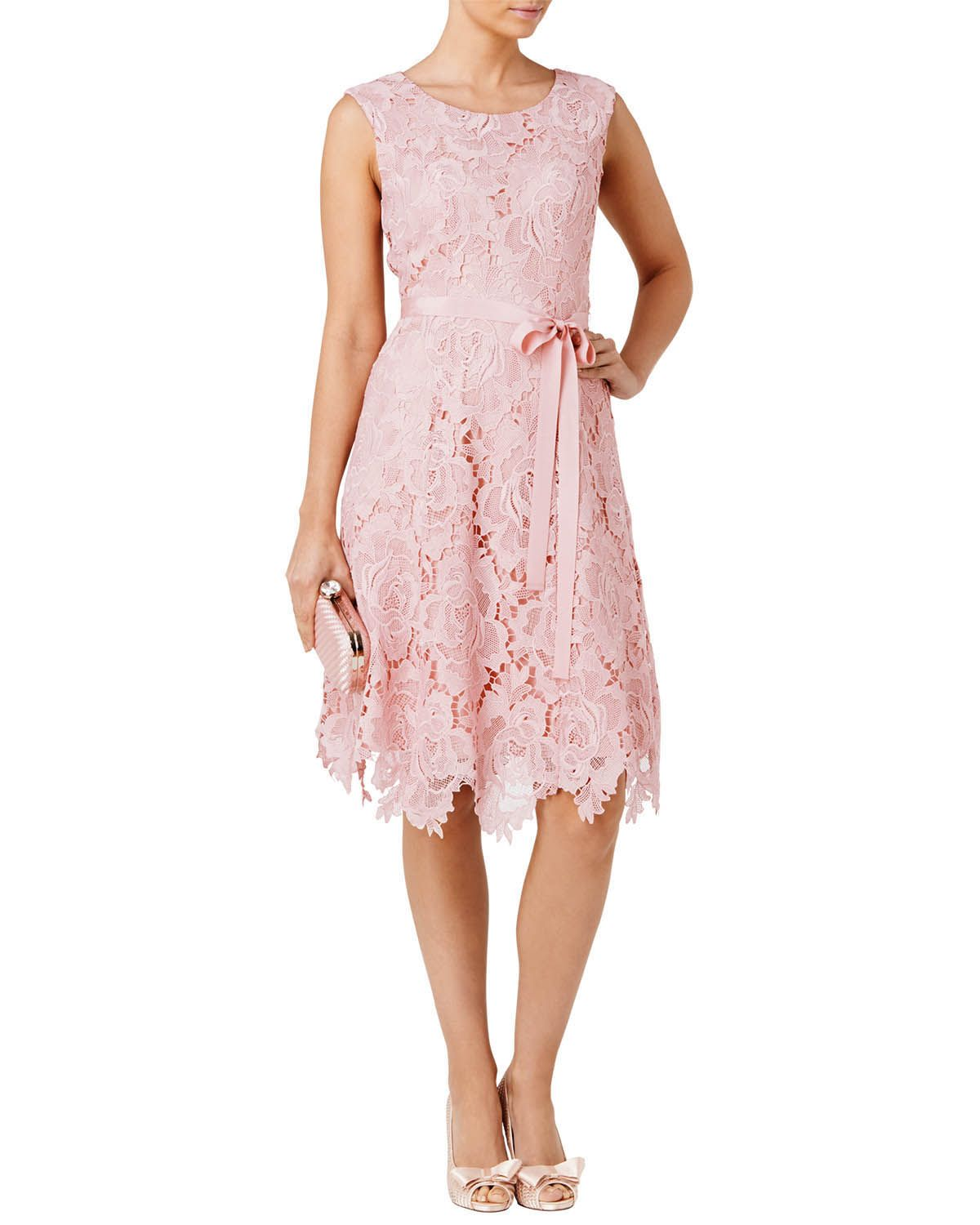 Pink Rose Lace Fit And Flare Dress