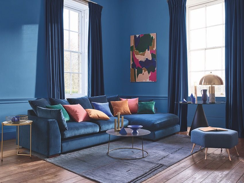 9 Perfect Pairings Living Room Trends With Dfs Summer 2020 Dfs Plush Large Chaise S Blue Velvet Sofa Living Room Blue Living Room Velvet Sofa Living Room