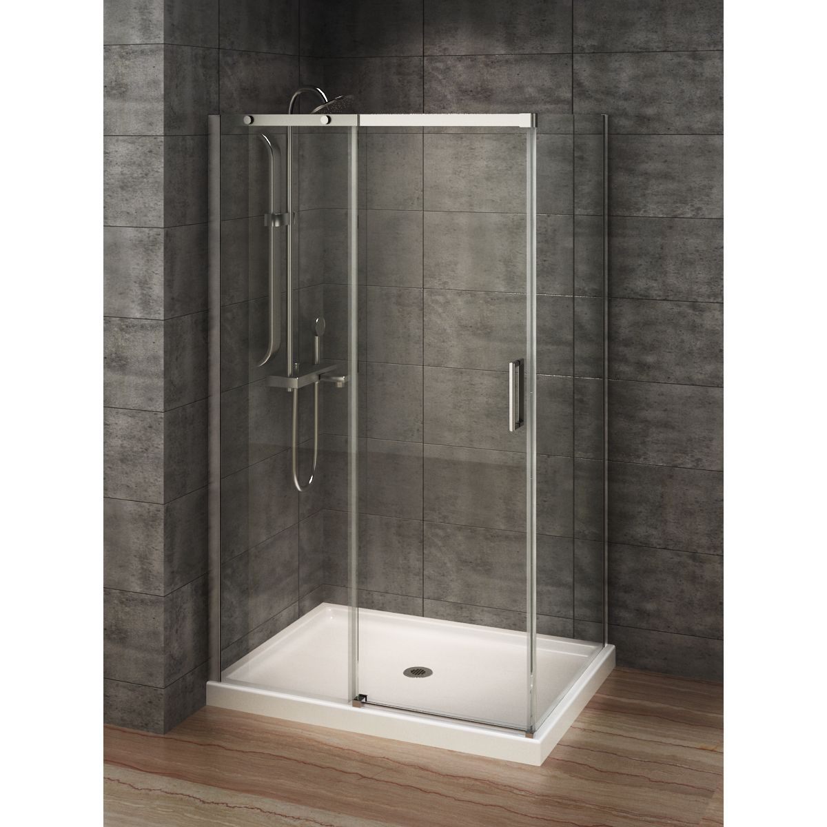 Berlin Glass 48 Inch X 32 Inch Rectangular Corner Shower Stall