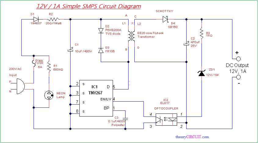 Simple SMPS Circuit | https://www pinterest com/alishahvin/tried/ in