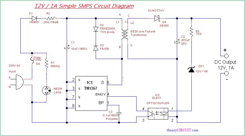 Simple Smps Circuit Circuit Diagram Circuit Design Circuit