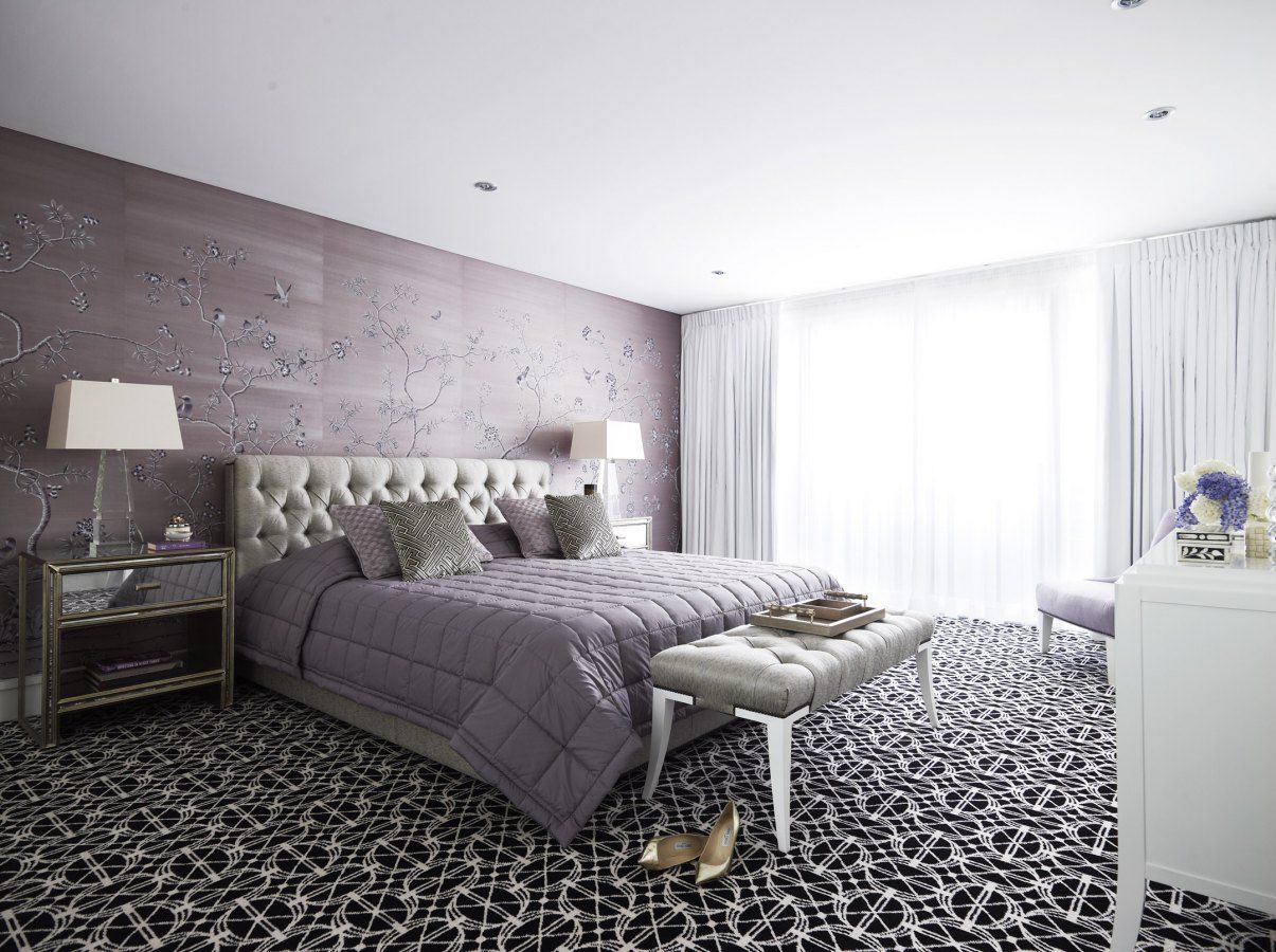 Awesome Beautiful Soft Lavender Master Bedroom With Chinoiserie Wallpaper And Bold  Black And White Geometric Carpet Adding Depth And Contrast To The Softness  Of The ...
