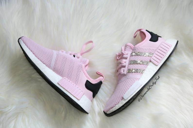 76fbef33cfefd Swarovski Womens Adidas Originals NMD R1 Light Pink Sneakers Blinged ...