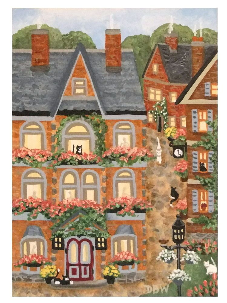 ACEO Original Acrylic Painting whimsical landscape cats flowers folkart village