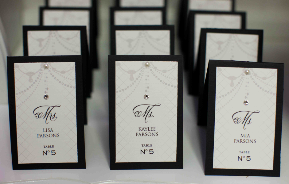 Chanel Inspired Place Cards With Belluccia Script Font Bling