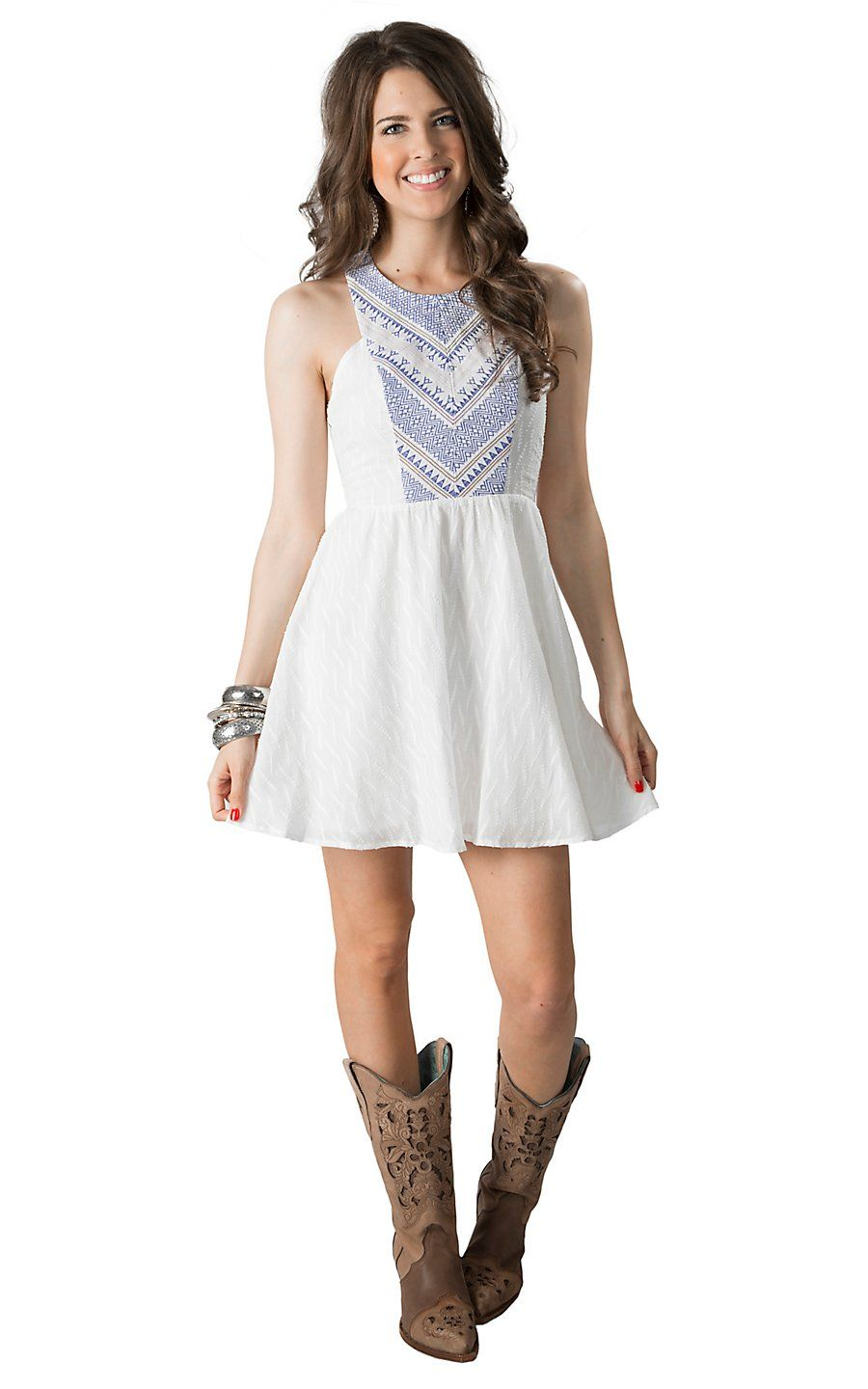 Flying Tomato Women S White With Blue Embroidery Racer Back Sleeveless Dress Cowgirl Dresses Country Outfits Women Western Dresses For Women [ 1440 x 900 Pixel ]