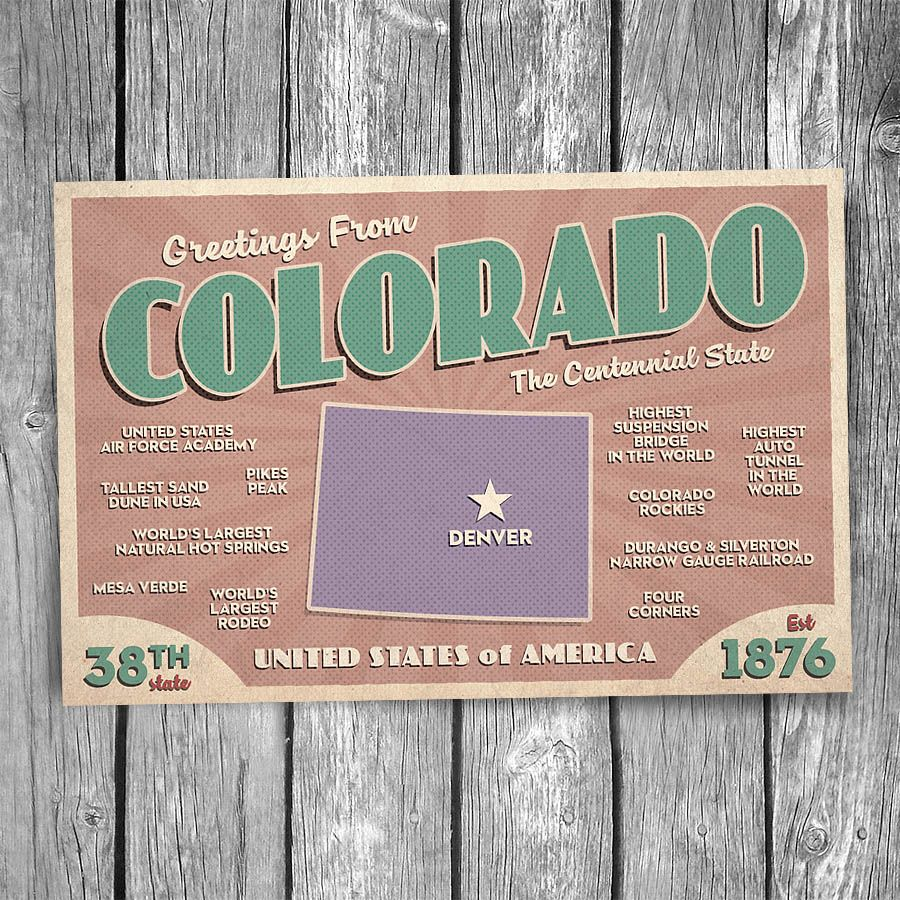 Greetings From Colorado Postcard Christopher Arndt Postcard Co Postcard Greetings Colorado