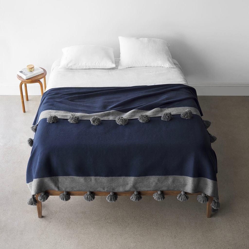 Rahim Navy Tasseled Bed Blanket Handwoven Blankets At The Citizenry Bed Blanket Bed Linen Design Moroccan Blankets