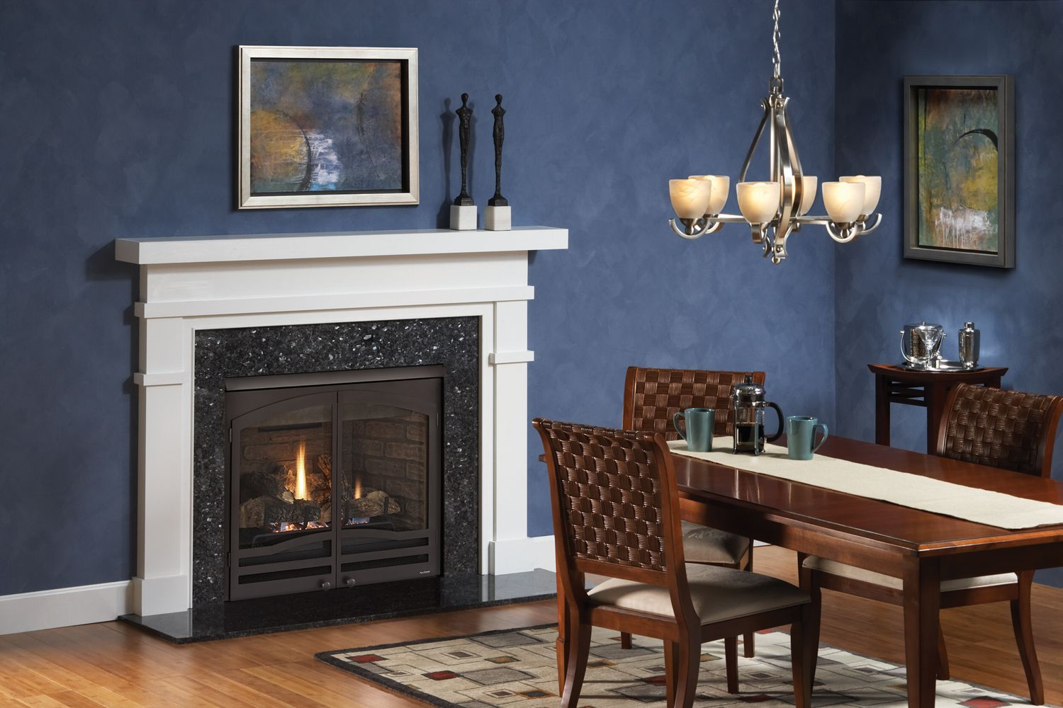 Love How This Fireplace Pops With The White Surround Mantel And