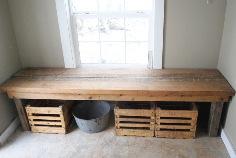 Merry Home Tour Wooden Storage Bench Rustic Wood Bench Crate Storage