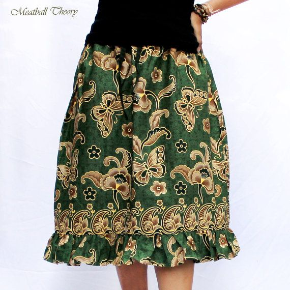 butterfly and green Thai  batik cotton summer by meatballtheory, $28.00