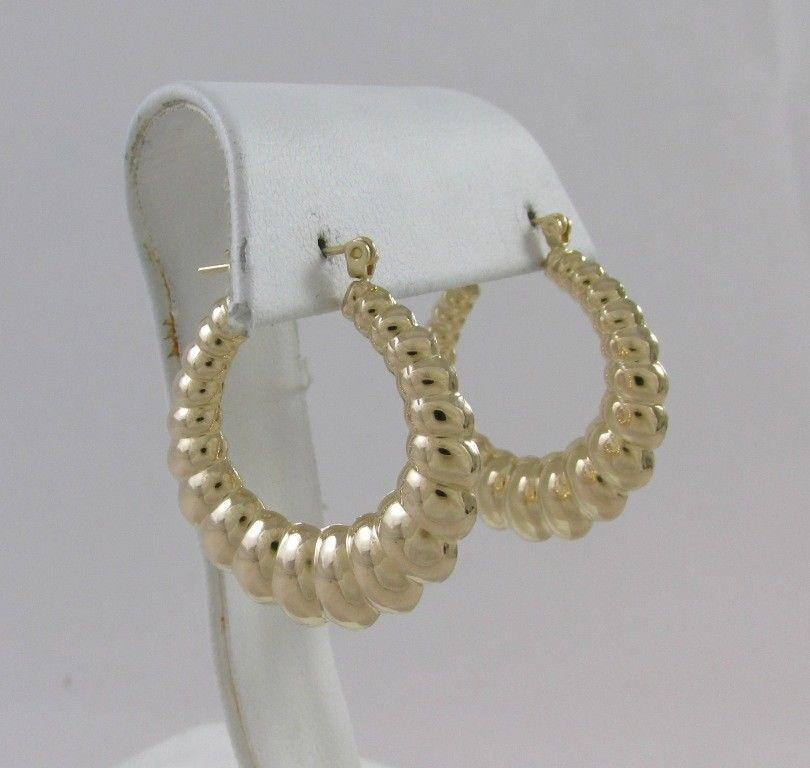 14kt Yellow Gold Shrimp Style High Polish Hoop Earrings Hoop