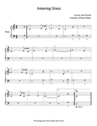 Amazing Grace Level 1 Piano Sheet Music Sheet Music Learn