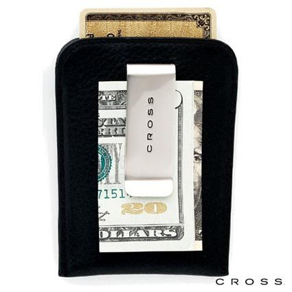 Personalised Cross Leather Money Clip Card Case has room for credit cards on one side and a money clip on the reverse, from just £20.55