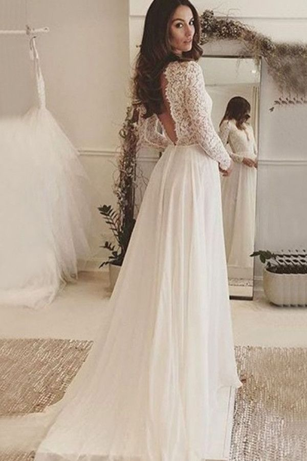 Deep V-Neck Long Sleeves Backless Ivory Chiffon Wedding Dress With ...