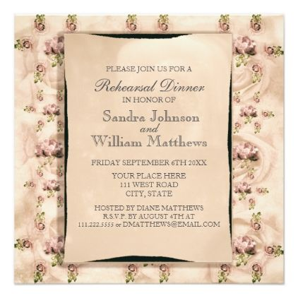 Vintage rose rehearsal dinner invitation wedding invitations cards vintage rose rehearsal dinner invitation wedding invitations cards custom invitation card design marriage party stopboris Image collections