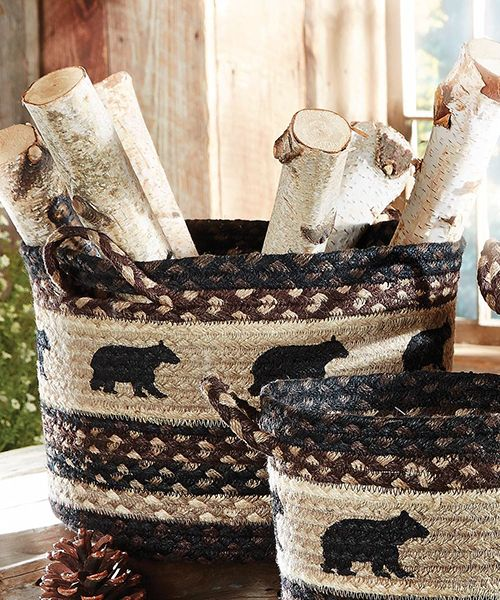 Photo of Black Bear Basket | Lodge, Rustic & Log Cabin Decor
