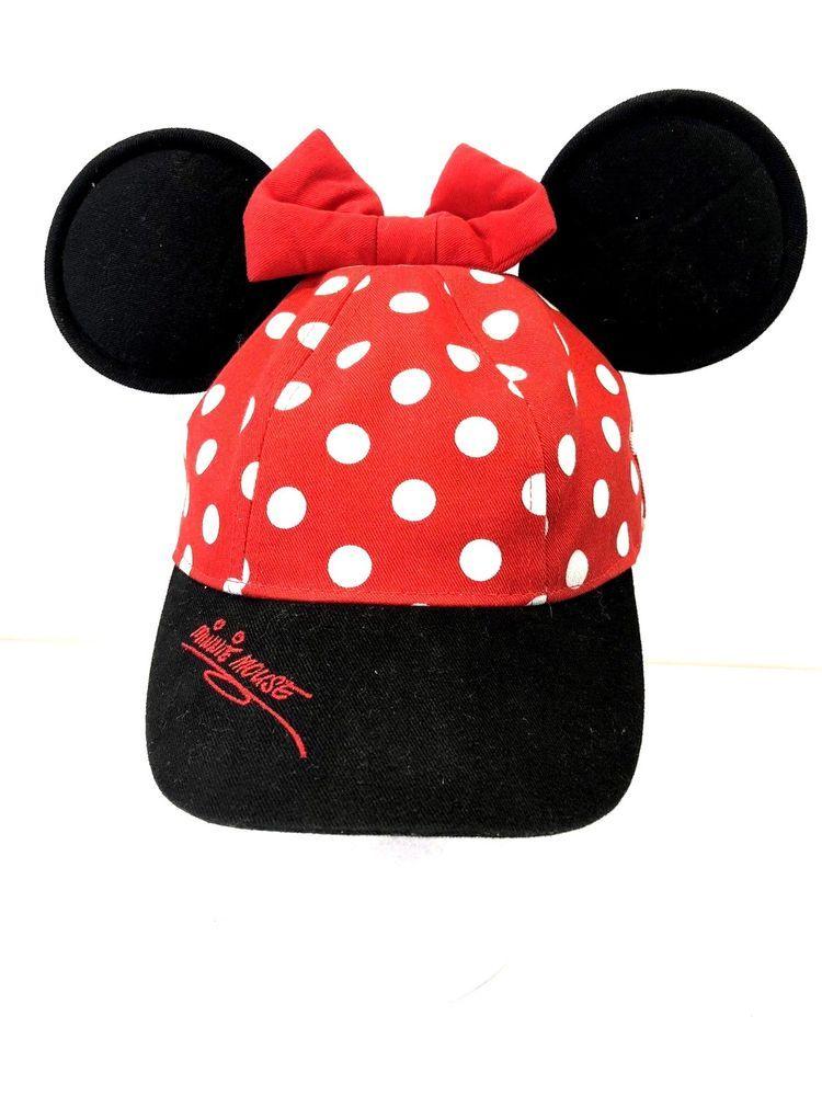 7506526ed3e WALT DISNEY WORLD MINNIE MOUSE HAT BASEBALL CAP WITH EARS RED POLKA DOT BOW   Disney