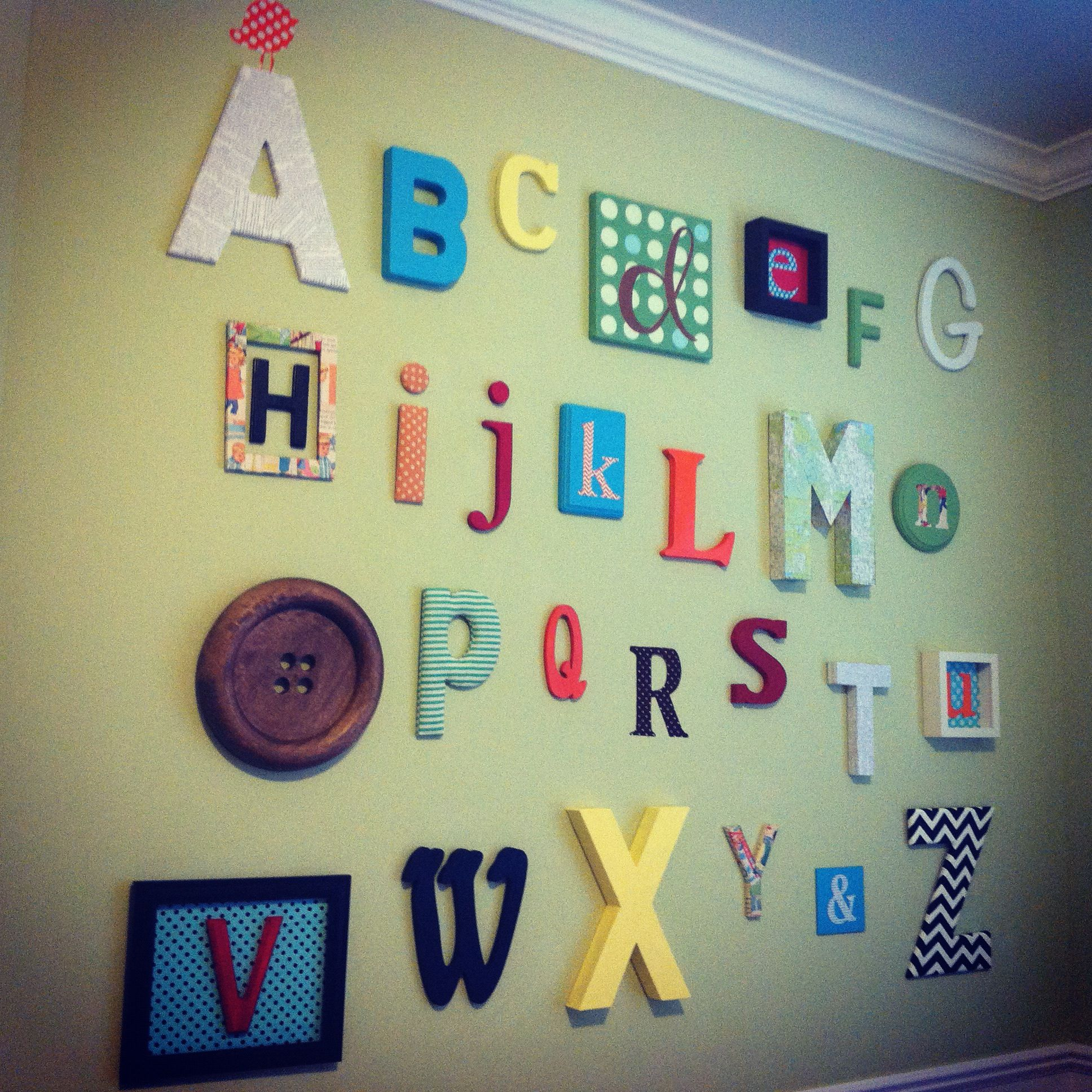 alphabet wall - do some letters in a shadow box (e and u) or on ...