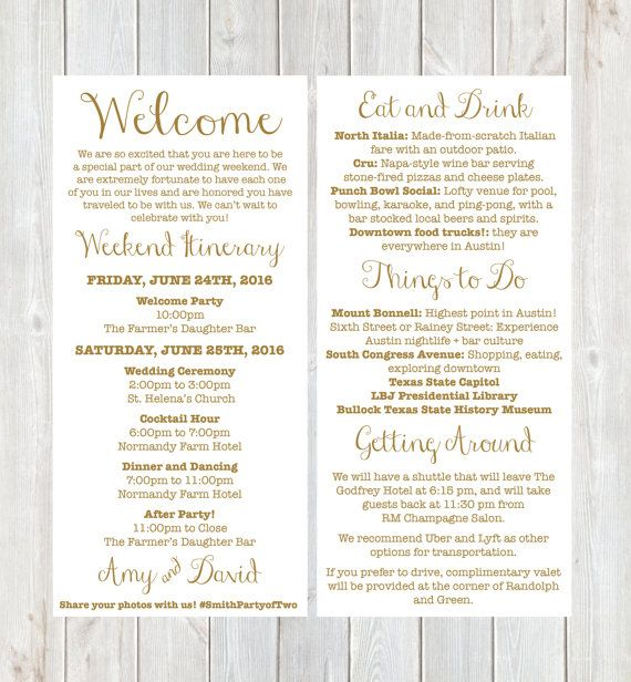 Welcome Letter, Weekend Itinerary, Wedding Itinerary, Gold Welcome