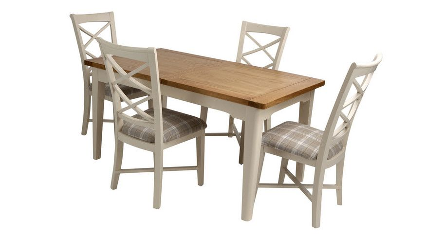 Shore Small Extending Dining Table And Set Of 4 Cross Back Chairs Prepossessing Dfs Dining Room Furniture Decorating Design