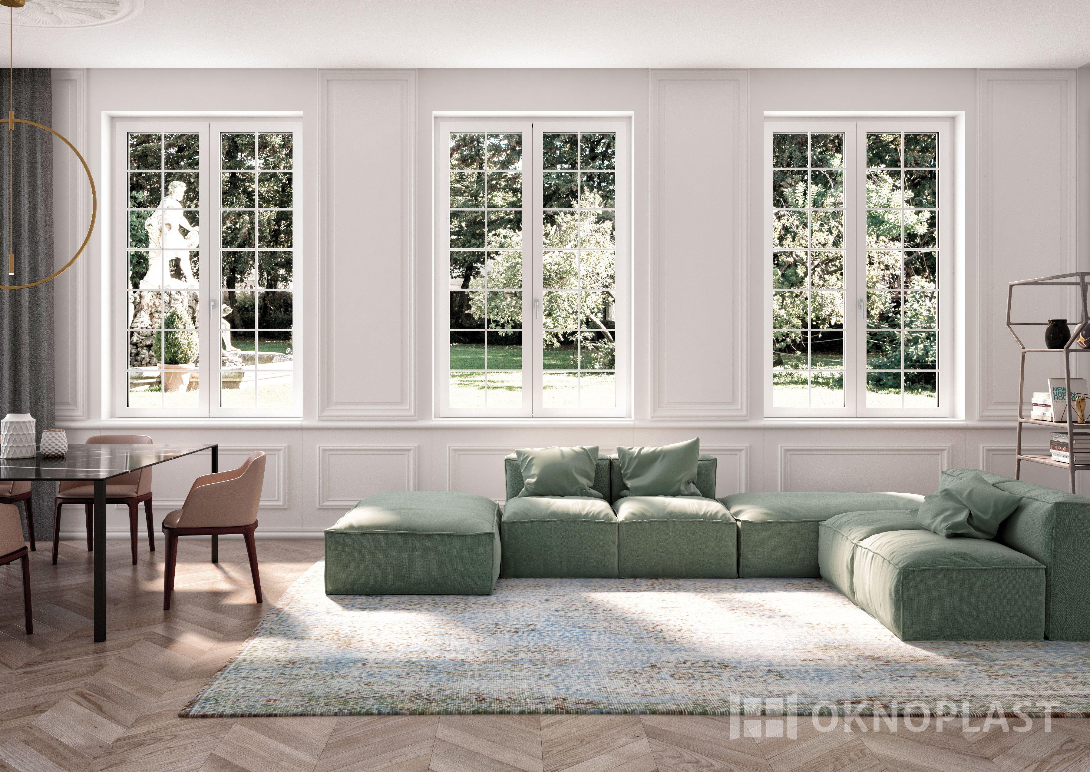 Elegant classic living room with white windows by Oknoplast ...