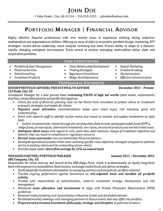 Portfolio Manager Resume Example Pinterest Resume Examples And