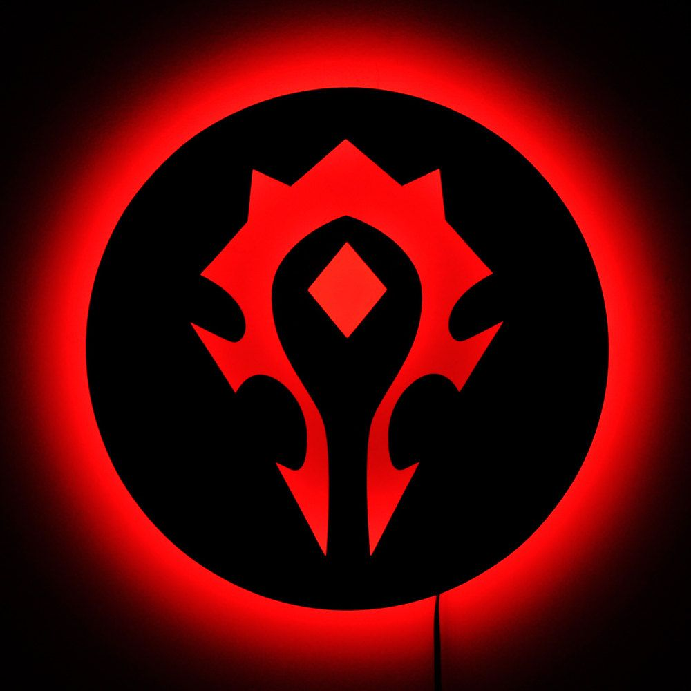 Wow Horde Logo Wall Lamp Lighted World Of Warcraft Horde Sign