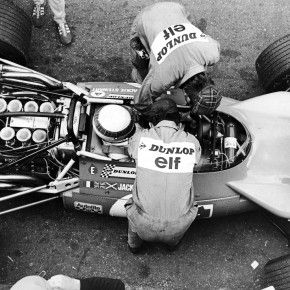 Jackie Stewart inspecting his own car!