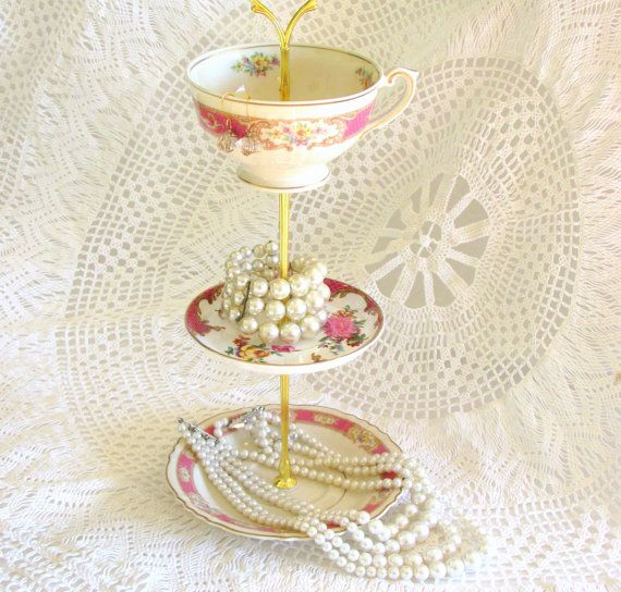 Bright Pink 3 Tier Handmade Jewelry Holder or Mini Cake Plate Tray Tea Party Display Centerpiece  sc 1 st  Pinterest & Bright Pink 3 Tier Jewelry Holder or Mini Cake Tray Dessert Display ...