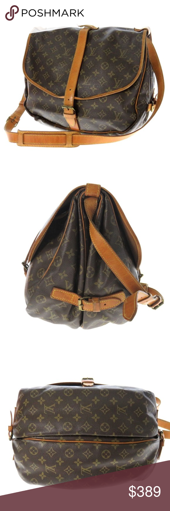 """Authentic Louis Vuitton Saumur 35 Messenger Bag Classic, unisex saddle bag with style & functionality.  Exterior leather & canvas is in great condition. Interior odor free. Features: double saddle compartments, side buckle vachetta leather closures at its frontal flaps, brown fabric interior w slip compartments, adjustable shoulder to crossbody strap. Dim: 13.8"""" W x 11"""" H x 8.7"""" D  Strap: 42"""" L Made In: France Date Code: AR8912 [1989] Brass, leather & canvas has been cleaned, polished…"""
