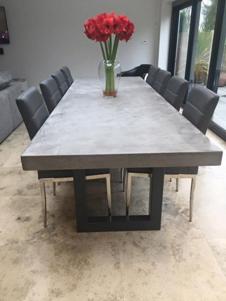 Polished Chunky Concrete Dining Table With Industrial Metal Frame