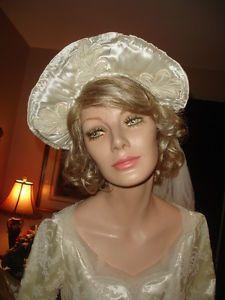 Vtg-Antique-Early-1900s-Ivory-Satin-Bridal-Headpiece-Crown-Halo-Tiara-Stunning