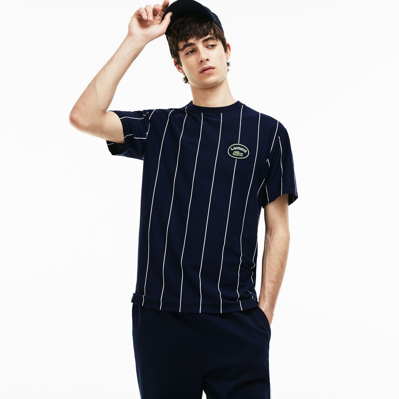 ba167f8509 T-shirt col rond en jersey de coton à rayures verticales | LACOSTE ...