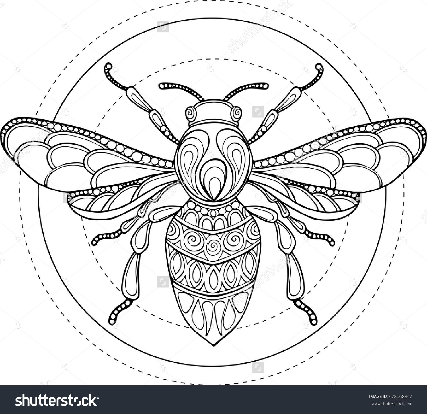 Doodle vector hand drawn bee illustration. Ornate decorative bee ...