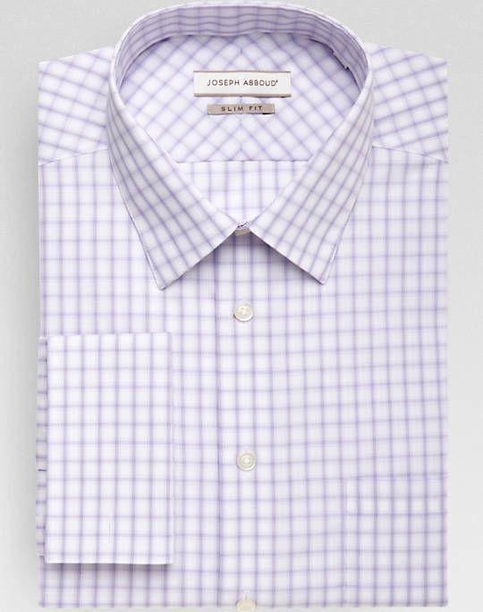 Joseph Abboud Lilac Check French Cuff Slim Fit Dress Shirt Slim