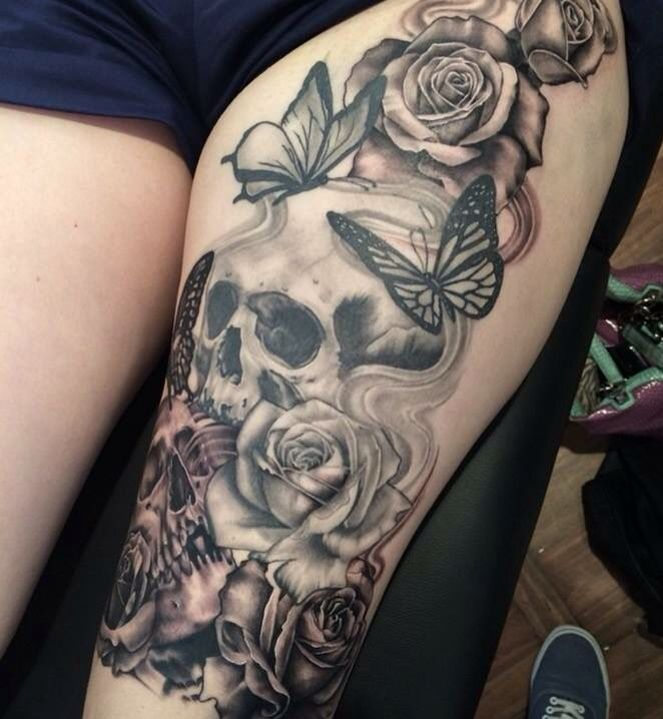 e0e36c56e Dark, skulls Skulls And Roses, Rose Tattoos, Tatoos, Tattoos For Women,