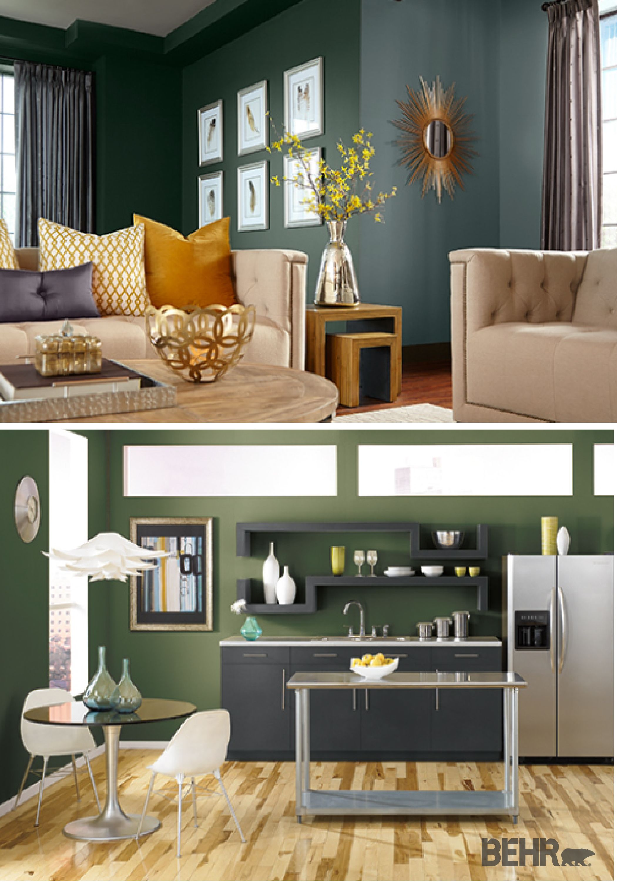 Reminiscent of an evergreen forest hunter green is an ideal hue to update your home with for Forest green living room furniture