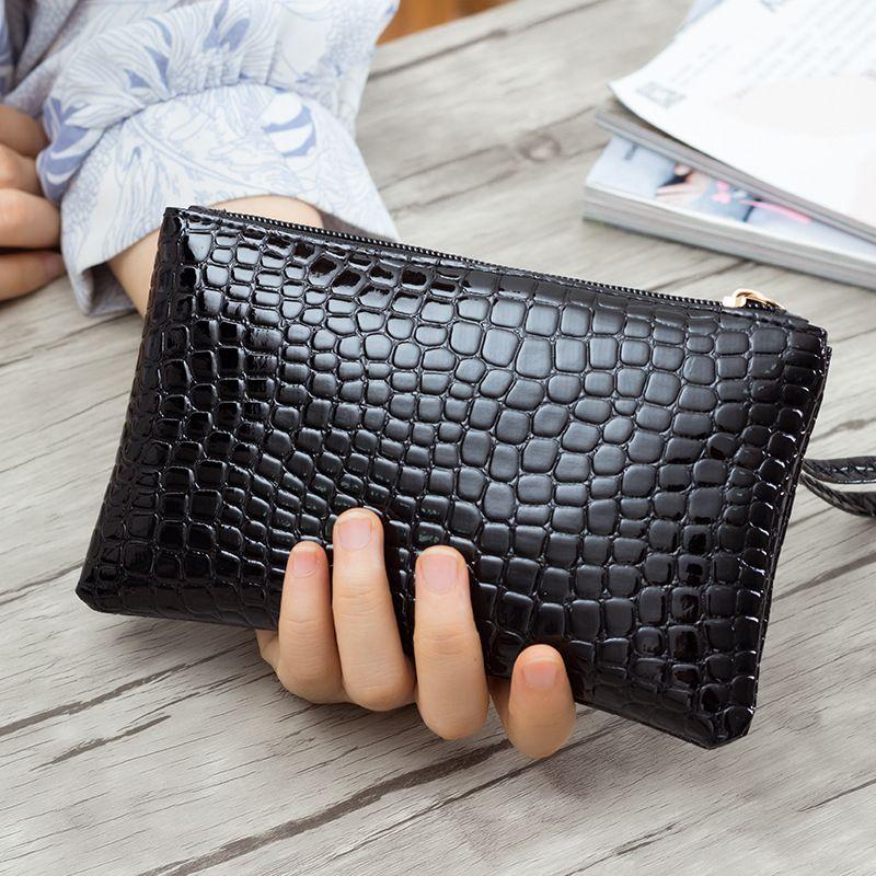 새로운 패션 악어 PU 가죽 유명 디자이너 럭셔리 브랜드 여성 긴 지갑 악어 여성 클러치 지갑 작은 가방