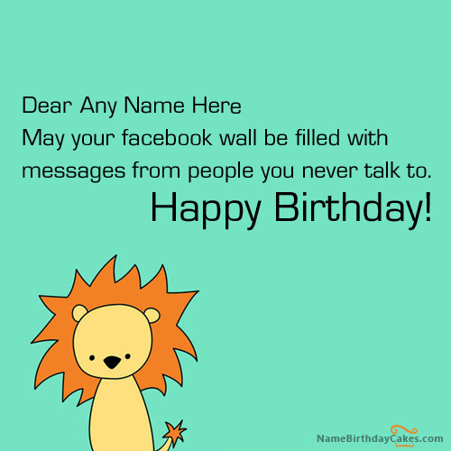 Write Name On Facebook Funny Birthday Wish Picture