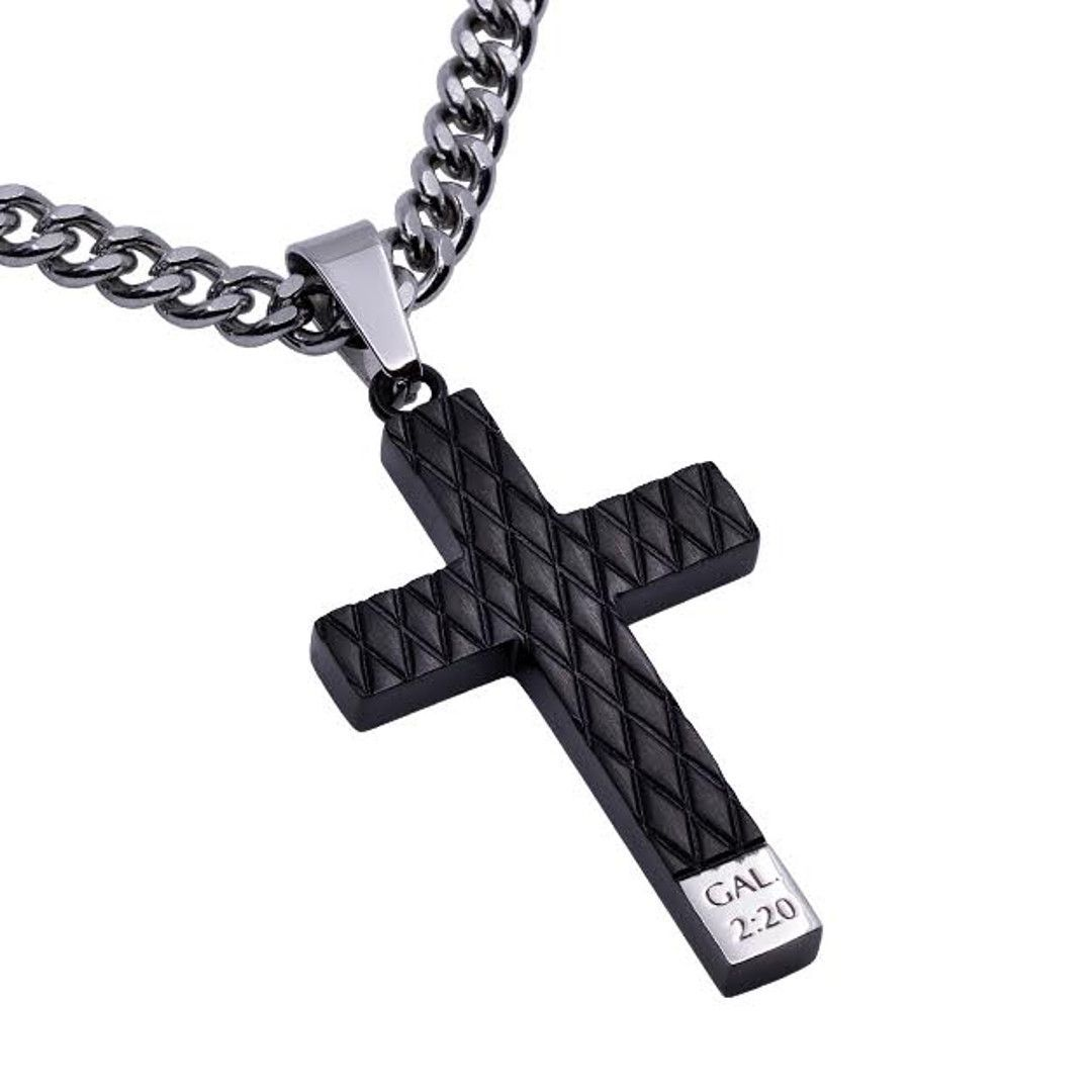 Galatians 2:20 CRUCIFIED Stainless Steel Engraved Black Cross Necklace