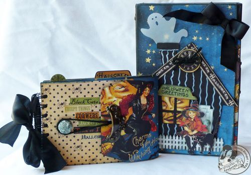 Amazing altered art box by @Gloria Stengel with a corresponding mini! A perfect Halloween treat! #graphic45