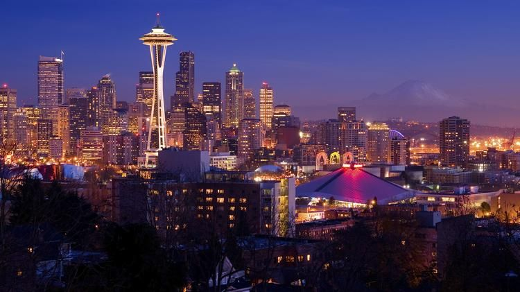 Rainier Space Needle Washington State Seattle Downtown Skyline Mt Postcard