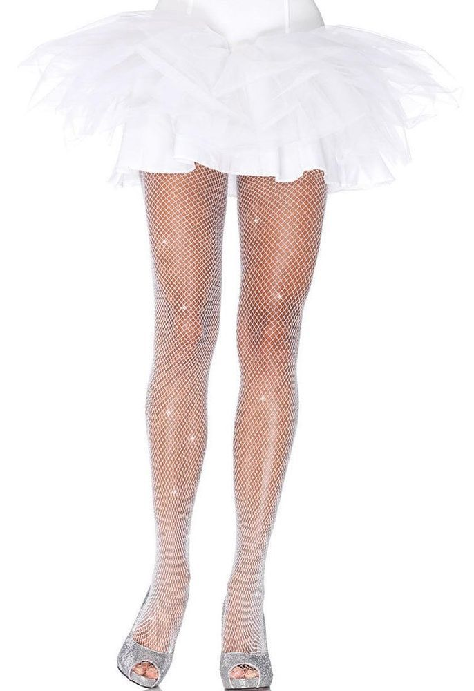 8a17442ace3 White Silver Glitter Fishnet Pantyhose Tights Crossdresser Drag Queen Ivory